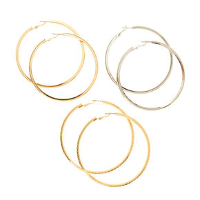 Silver and Gold Textured Hoop Earring Set,