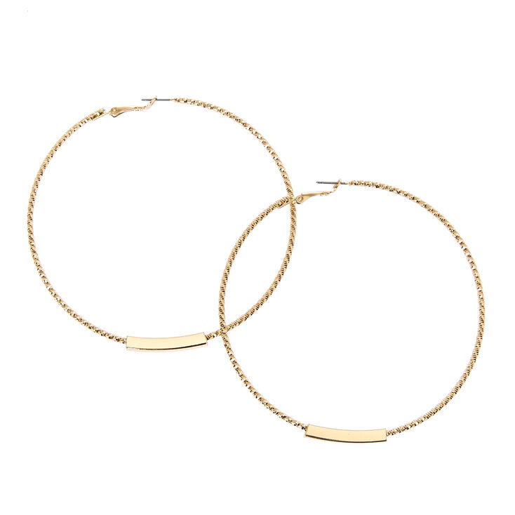 Big Gold Bar Hoop Earrings at Icing in Victor, NY | Tuggl