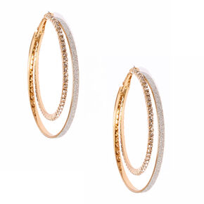 60MM Silver Glitter and Crystal Lined Gold-tone Double Hoop Earrings,