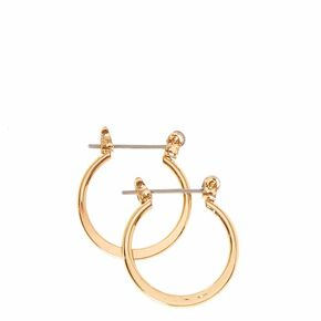 Mini Gold-tone Knife Edge Hoop Earrings,