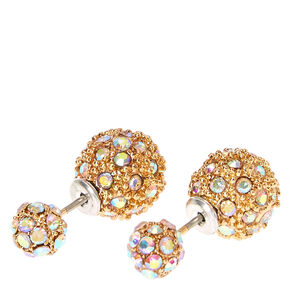 Gold-tone Iridescent Pavè Ball Front and Back Stud Earrings,