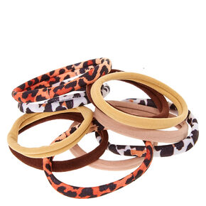 Nude Leopard Print Rolled Hair Ties,