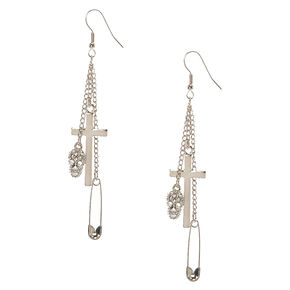 Silver-tone Gothic Charm Drop Earrings,