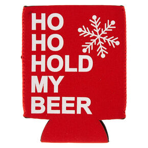 Red HO HO Hold My Beer Holiday Drink Koozie,