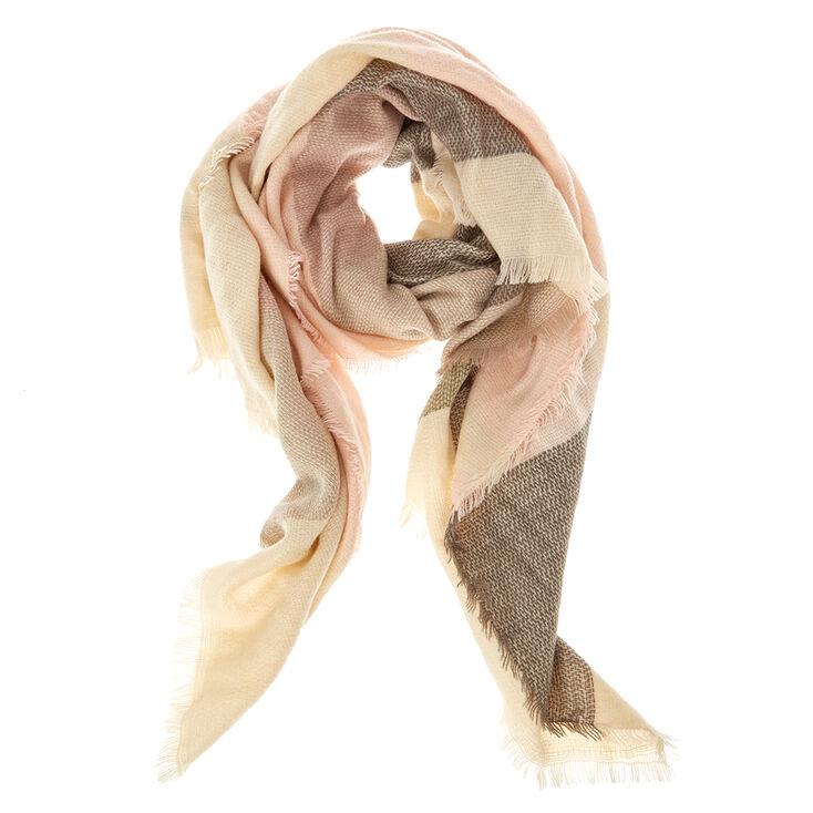 Pink Plaid Blanket Scarf,