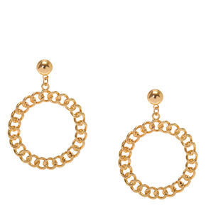 Gold Circle Drop Earrings,