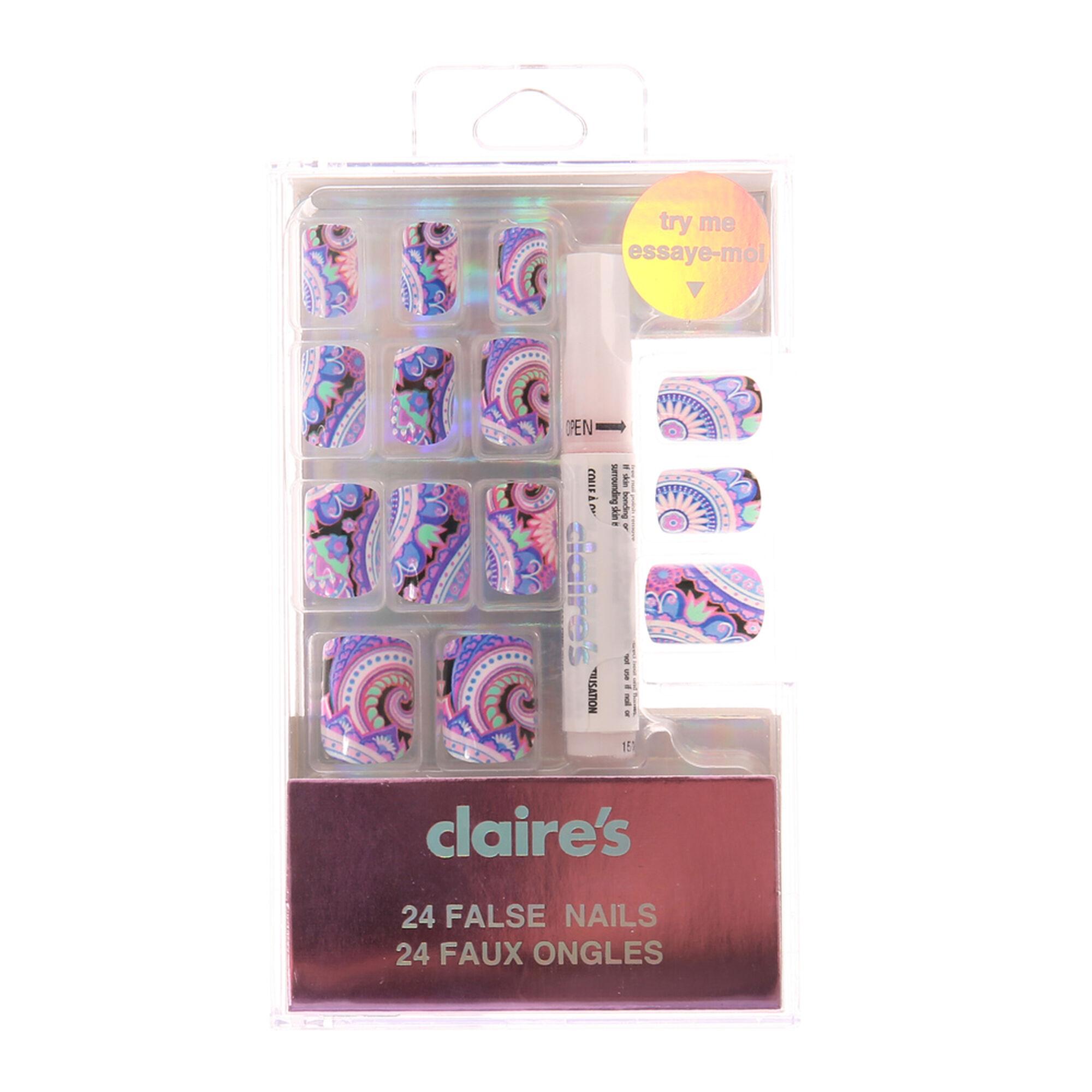 ensemble de faux ongles violets motif cachemire claire 39 s fr. Black Bedroom Furniture Sets. Home Design Ideas