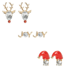 3 Pack Crystal Holiday Stud Earrings,