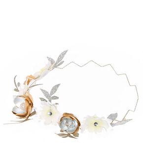 White and Metallic  Flower Zig Zag Hair Garland,