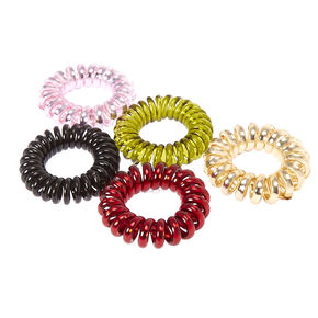 Burgundy & Olive Metallic Coiled Hair Ties,