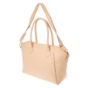 Tan Quilted Faux Leather Tote Bag,