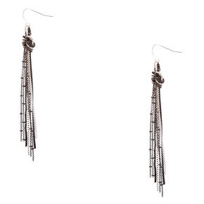 Dark Mixed Metal Knotted Chain Fringe Drop Earrings,