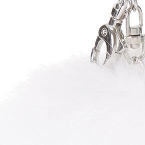 White Pom Keychain,