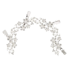 Silver--tone Faux Crystal and Pearl Flower Decorative Hair Swag,