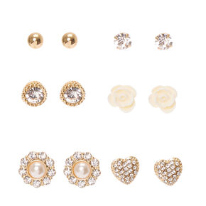 Gold and Faux Crystal Floral Motif Stud Earrings,