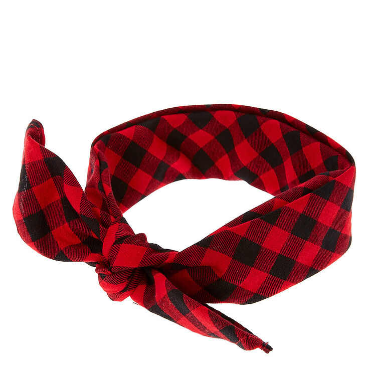Red and Black Plaid Bandana Headwrap,