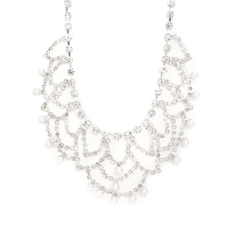 Rhinestone Swag and Pearl Dangle Statement Necklace,