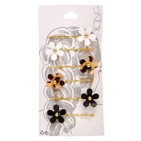 Gold Leopard Print Flower Bobby Pins,