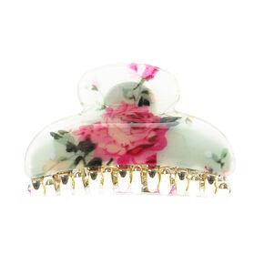 Pink & Cream Vintage Floral Hair Claw,