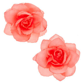 Coral Chiffon Flower Set of 2 Hair Clips,
