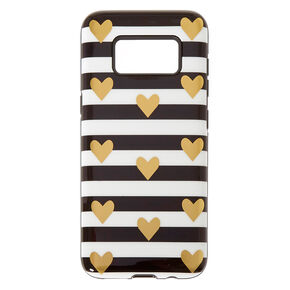Fancy Striped Black White & Gold Hearts Phone Case,