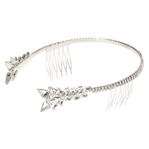 Silver-tone Faux Crystal Leaves Side Tiara,