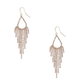 Gold and Faux Crystal Teardrop and Chain Fringe Drop Earrings,