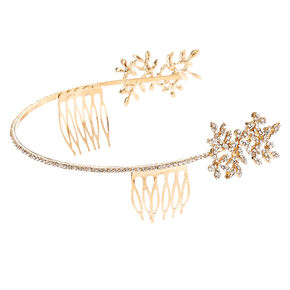 Gold & Faux Crystal Vine Leaf Side Tiara,
