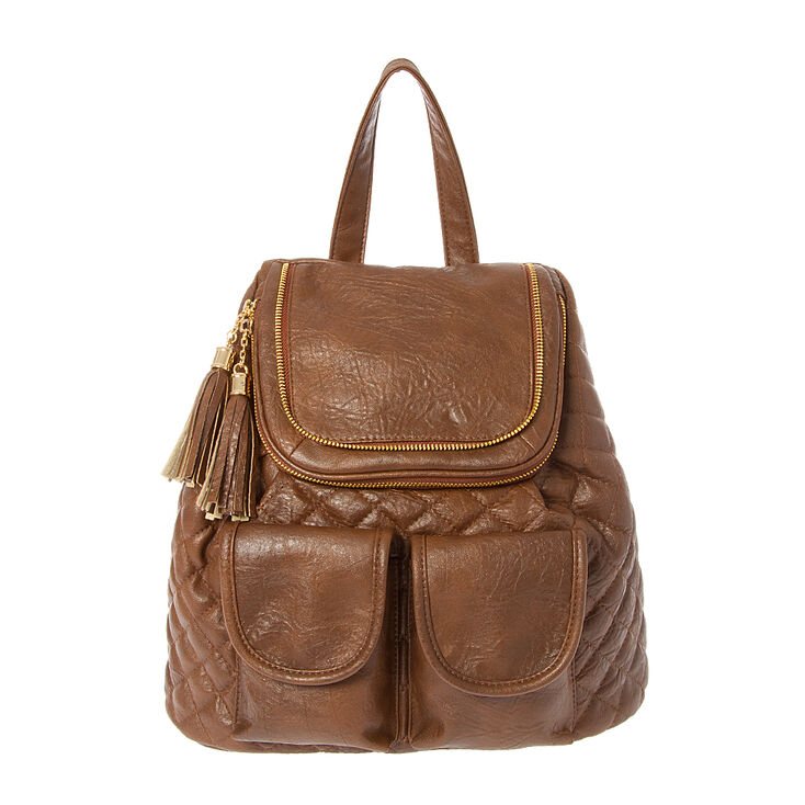 Berkeley Quilted Brown Faux Leather Backpack with Tassel Zippers,