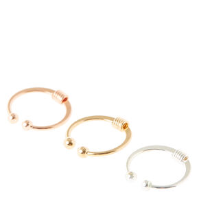 Mixed Metal Faux Lip Rings,