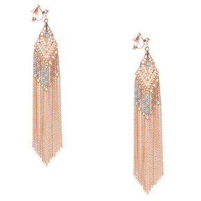 Rose Gold Diamond with Beaded Chain Fringe Clip-on Drop Earrings,