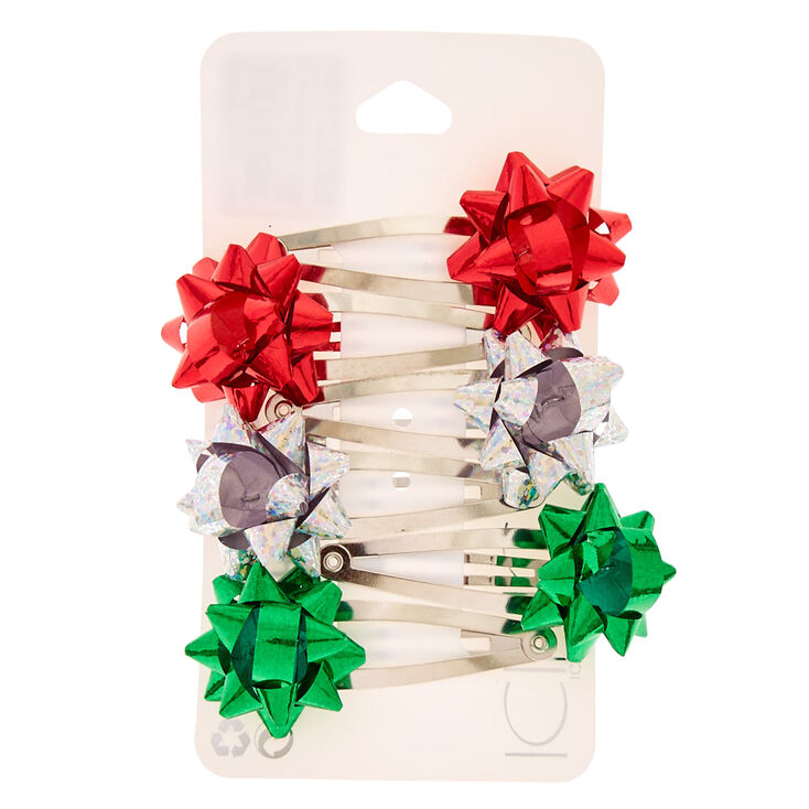 6 Pack Holiday Foil Bow Snap Clips,