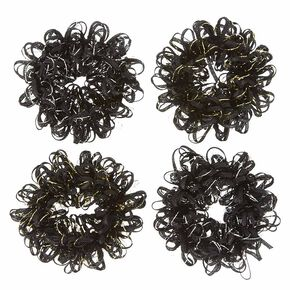 Black Looped Ribbon Hair Scrunchies,