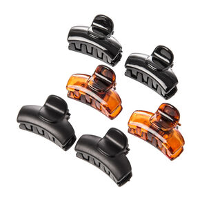 Tortoise Shell, Shiny and Matte Black Mini Claw Clips Set of 6,
