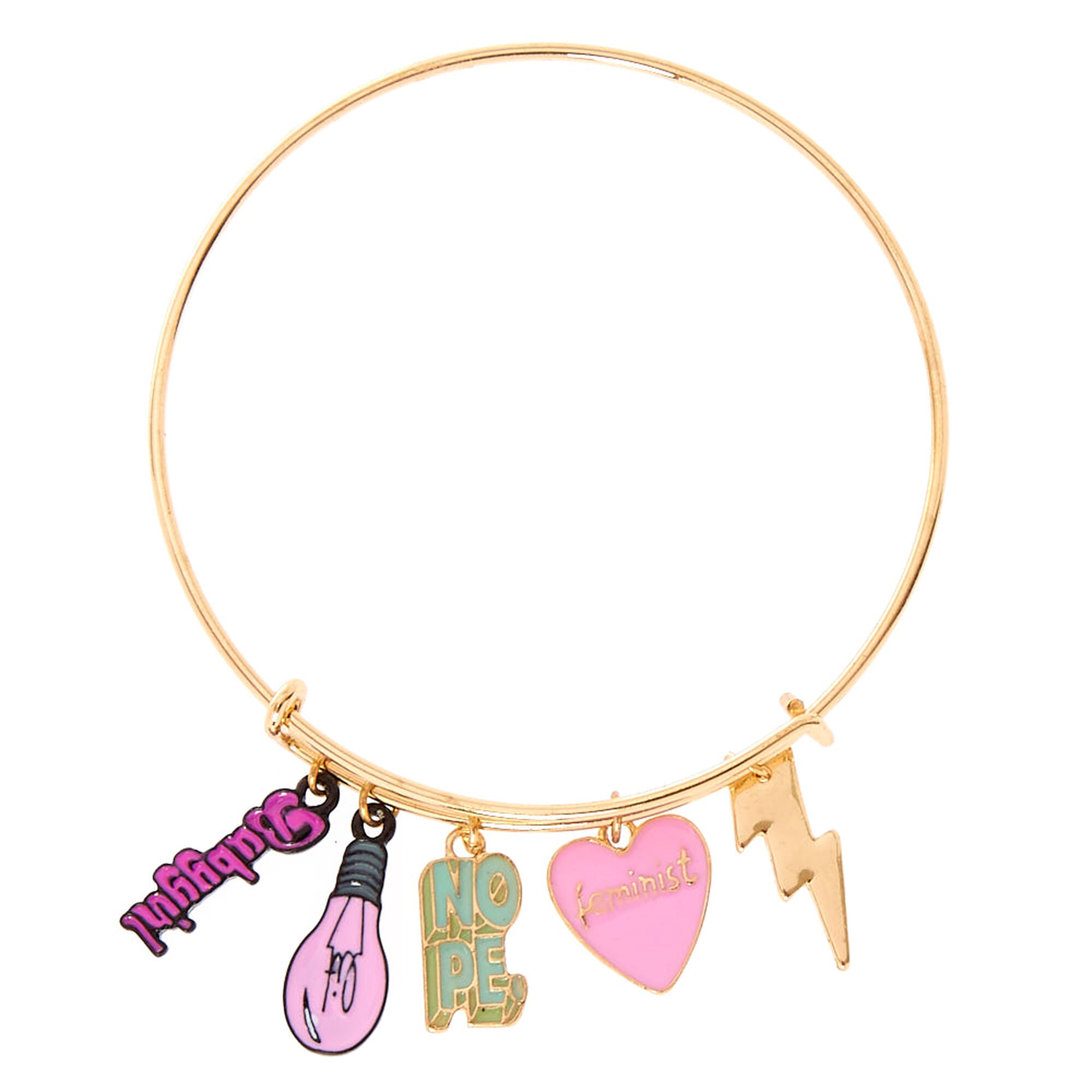goldtone lit charm bangle bracelet claires us