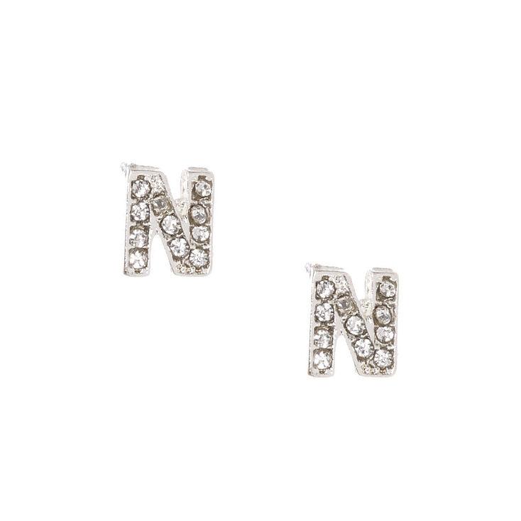 Silver-tone Faux Crystal Initial N Stud Earrings,