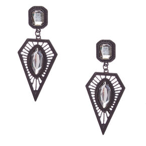 Clear Gem Black Geometric Drop Earrings,