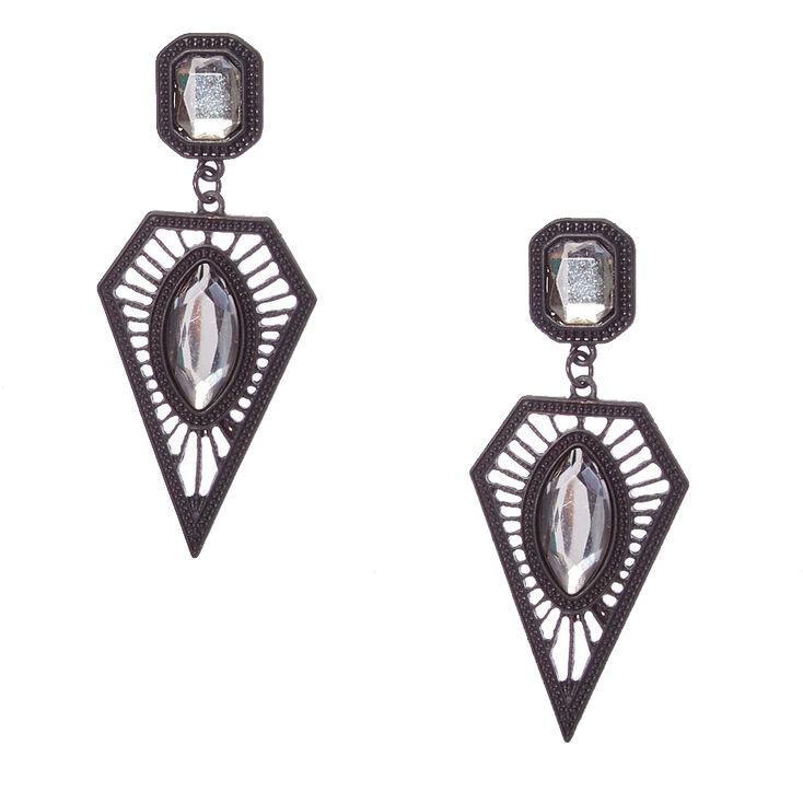 Clear Gem Black Geometric Drop Earrings,