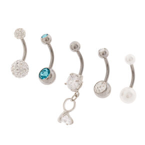 14G Diamond Ring, Pearl and Crystal Belly Rings Set of 5,