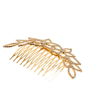 Gold-tone and Crystal Floral Hair Comb,