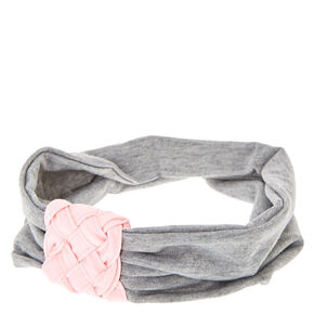 Scunci® Gray and Pink Pleated Cinched Headwrap,