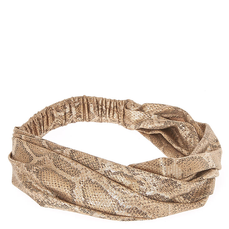 Metallic Gold Snakeskin Headwrap,