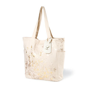 Bridesmaid Canvas Tote Bag with L Initial Tag,