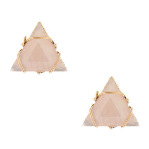 Wired Tan Triangle Stone Stud Earrings,