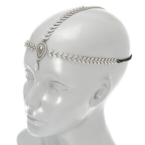 Silver-tone Crystal Leaves and Teardrop Medallion 3-Way Headwrap,