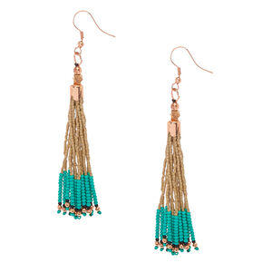 Beige and Turquoise Beaded Fringe Drop Earrings,