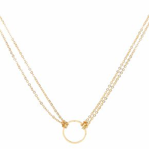 Gold Toned Open Circle Pendant Necklace,