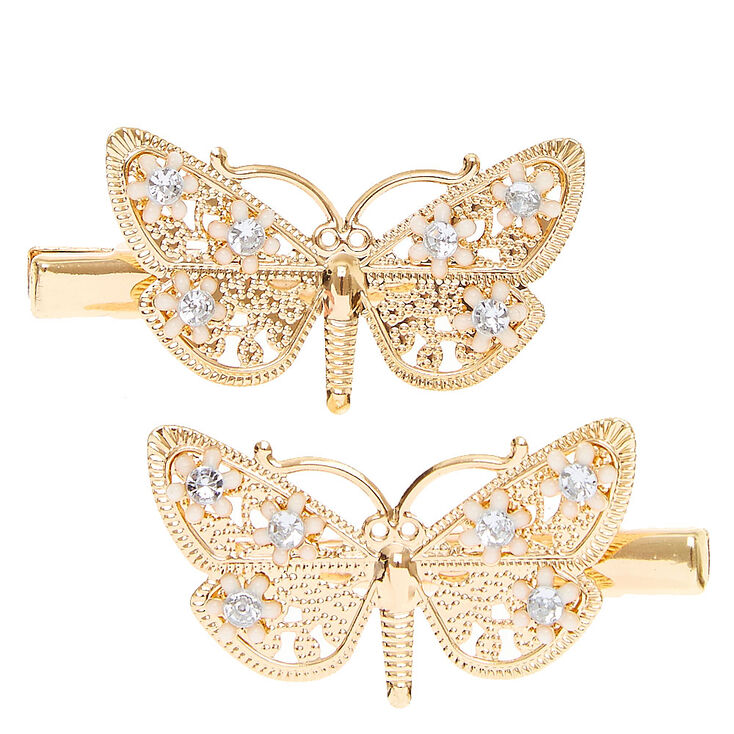 Gold Filigree Butterfly Hair Clips,