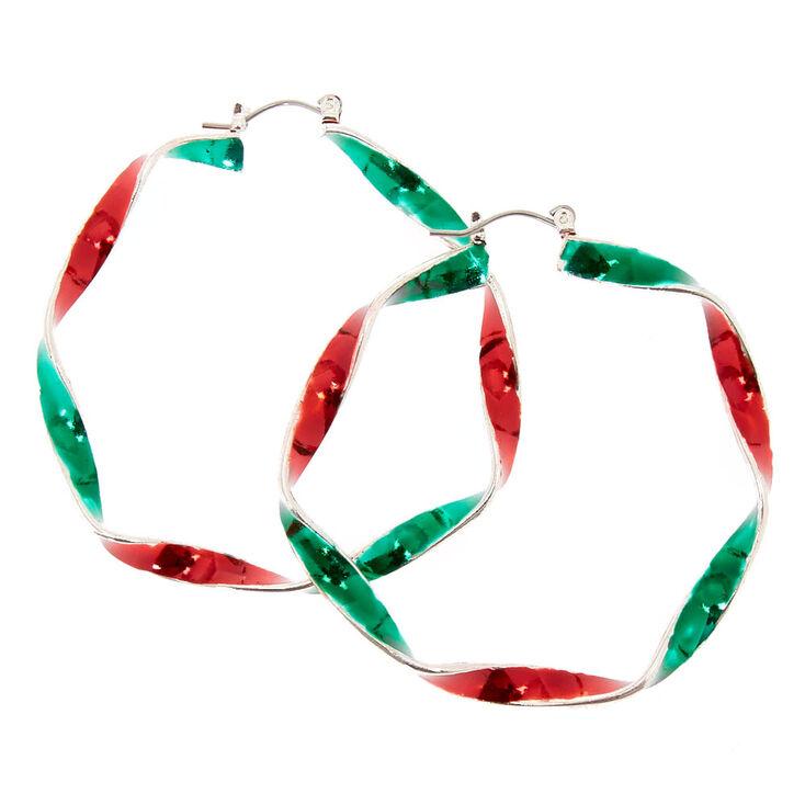 Red & Green Silver Hoop Earrings,