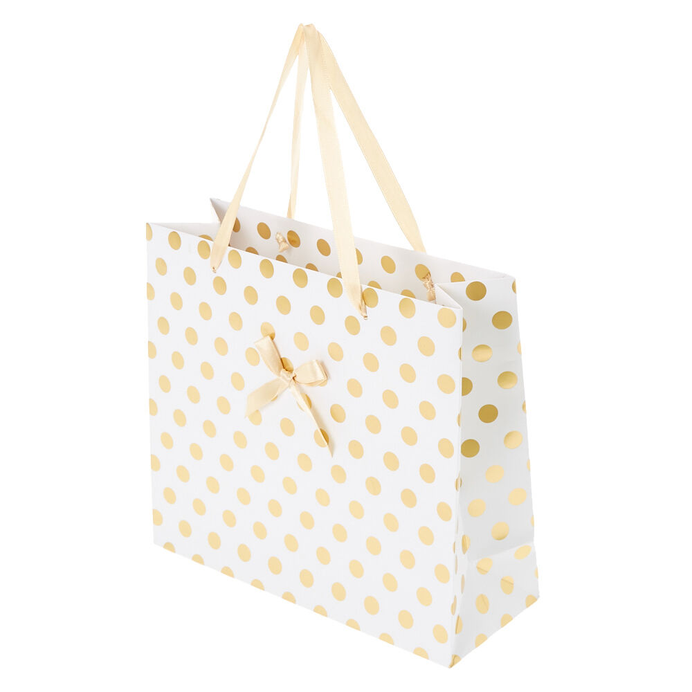 Large Gold Polka Dot Gift Bag | Claire's CA